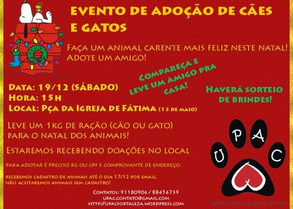 Cartaz evento de adoção da UPAC