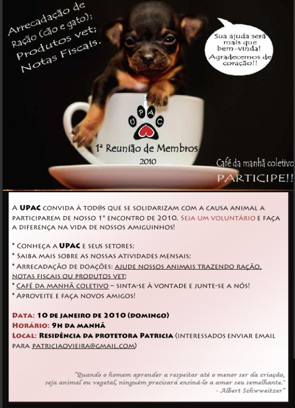 Convite Reunião dia 10 Janeiro