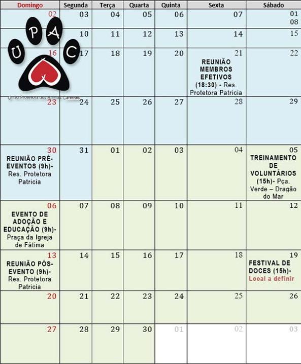 Calendário - Maio / Junho UPAC