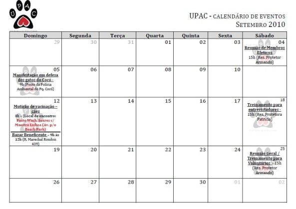 Calendário de Eventos da Upac - Setembro 2010