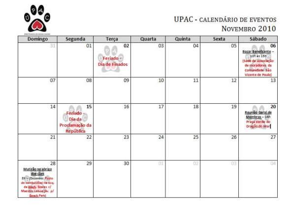 Calendário de Atividades - Novembro 2010
