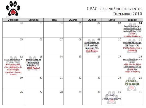 Calendário de atividades Dezembro 2010 - clique para ampliar