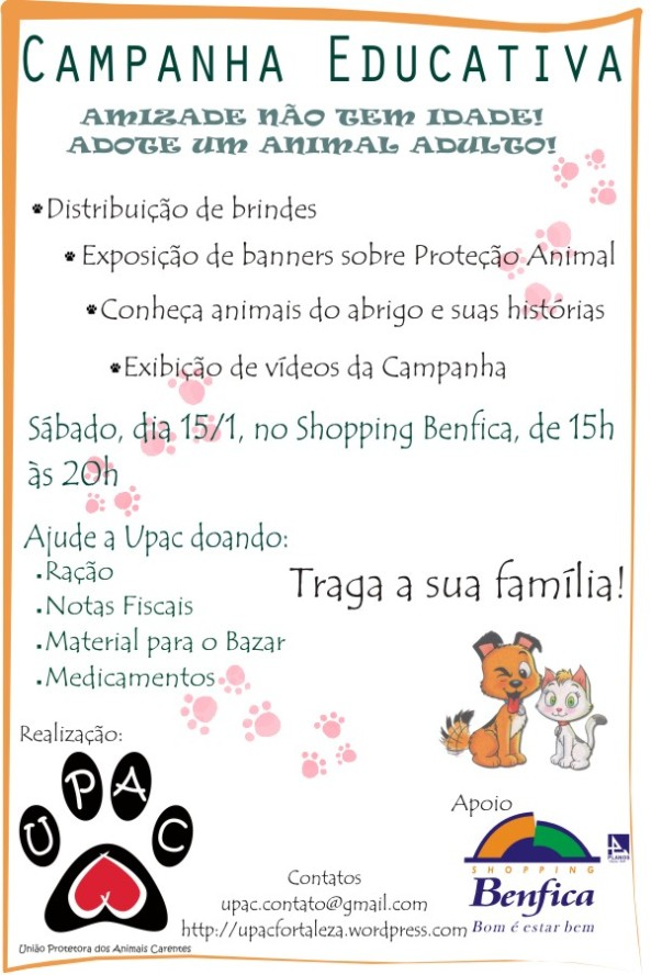 Campanha Educativa, dia 15/1 no Shopping Benfica