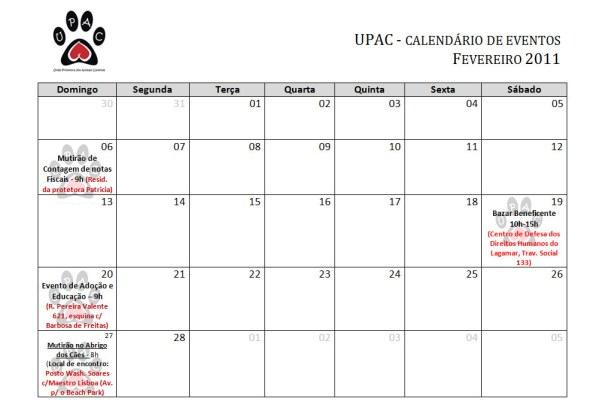 Calendário de atividades Fevereiro 2011