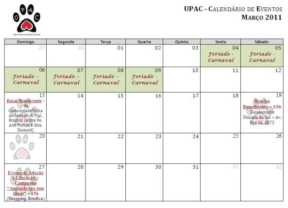 Calendário de Atividades de Março 2011 - Clique para ampliar