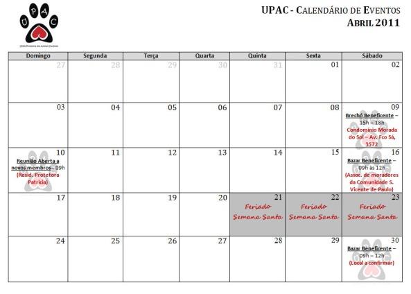 Calendário de Atividades - Abril 2011