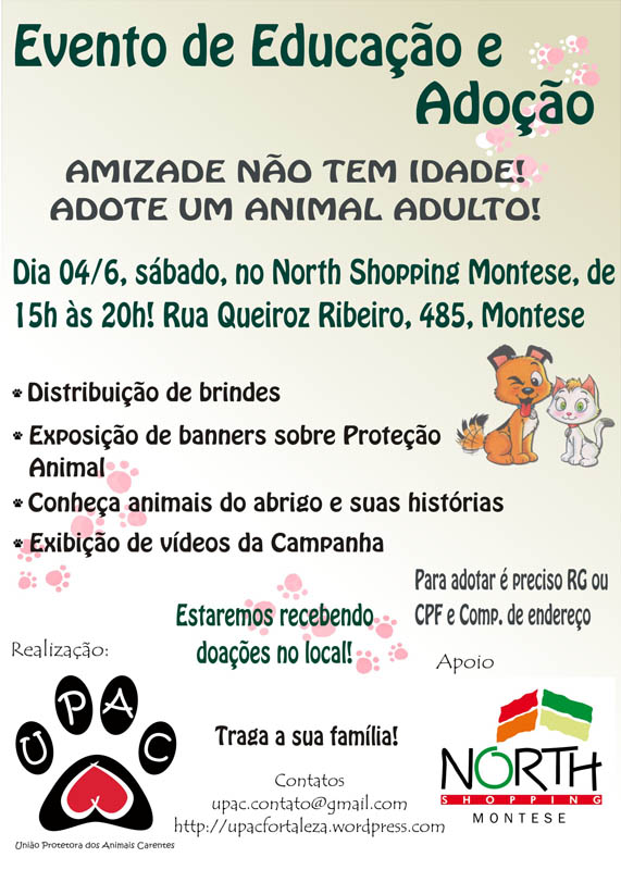 Evento Educativo e de Adoção de Cães e Gatos no North Shopping Montese