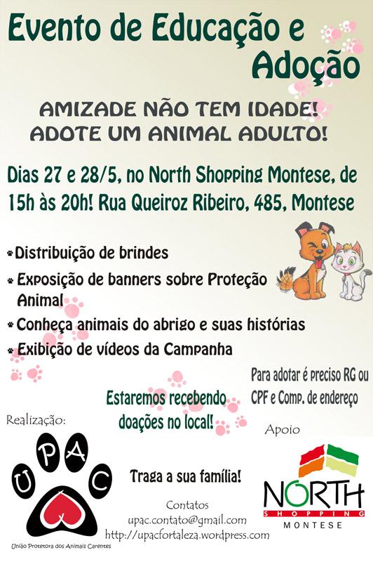 Evento de Educação e Adoção de Cães e Gatos no North Shopping Montese