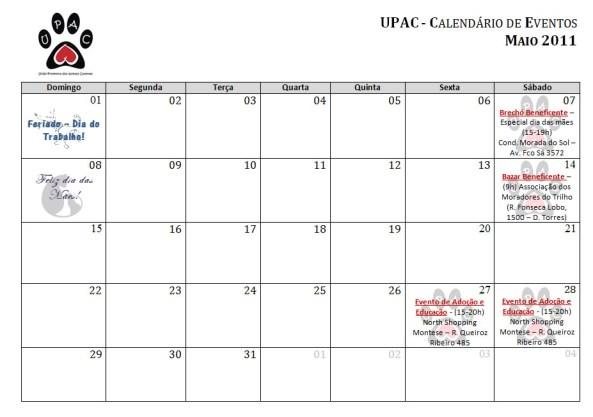 Calendário de Atividades da Upac - Maio 2011 - Clique para ampliar