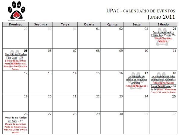 Calendário de Atividades - Junho 2011 - Clique para ampliar