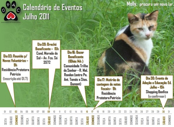 Calendário de Atividades - Julho 2011 - Clique para ampliar