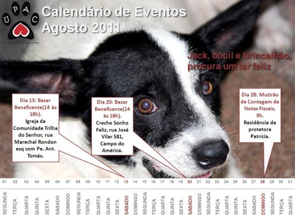 Calendário de Atividades da Upac - Agosto 2011