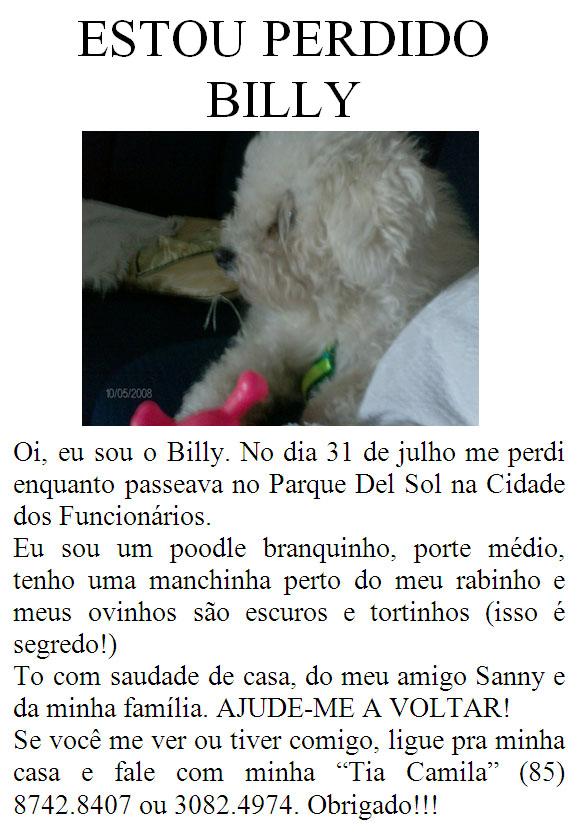 Billy, desaparecido no bairro cidade dos funcionários