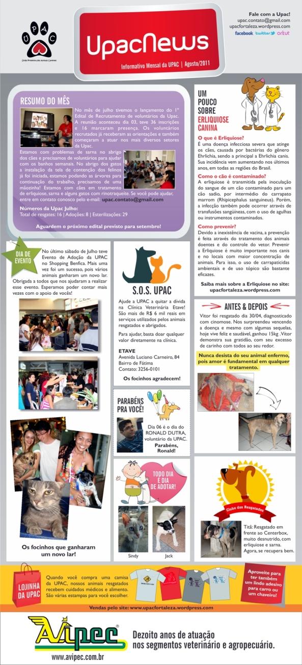 Upac News - O informativo mensal da Upac - Agosto 2011 - clique para ampliar