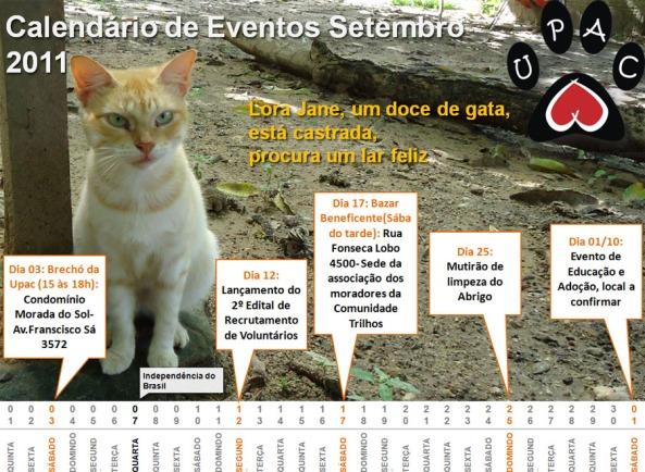 Calendário de Atividades da Upac - Setembro 2011