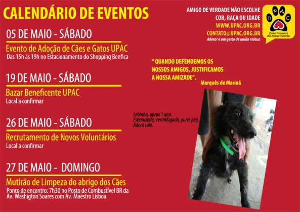 Calendário de Eventos Upac - Maio 2012 - clique para ampliar