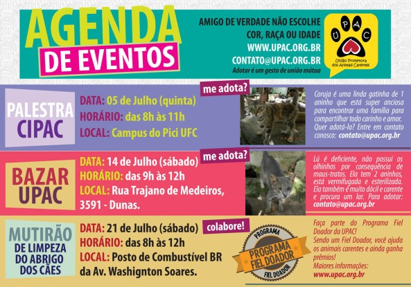 Calendário de Eventos da Upac – Julho 2012