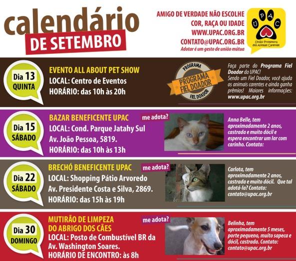 Calendário de Eventos da Upac – Setembro 2012