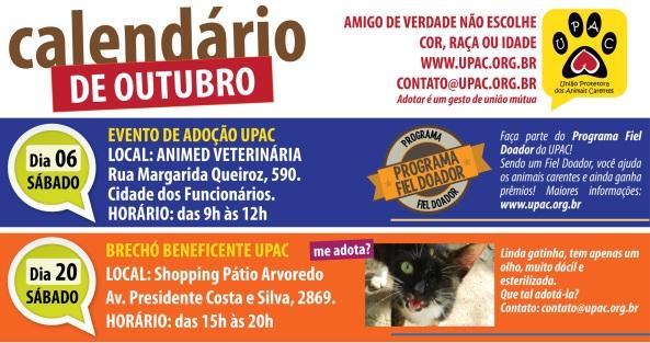 Calendário de Eventos da Upac – Outubro 2012