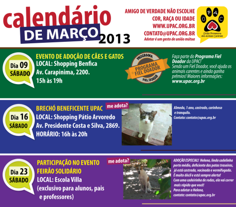 Calendário de Eventos da Upac - Março 2013