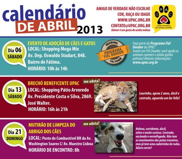 Calendário de Eventos da Upac - Abril 2013