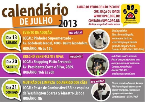 Calendário de Eventos do mês de Julho da UPAC!