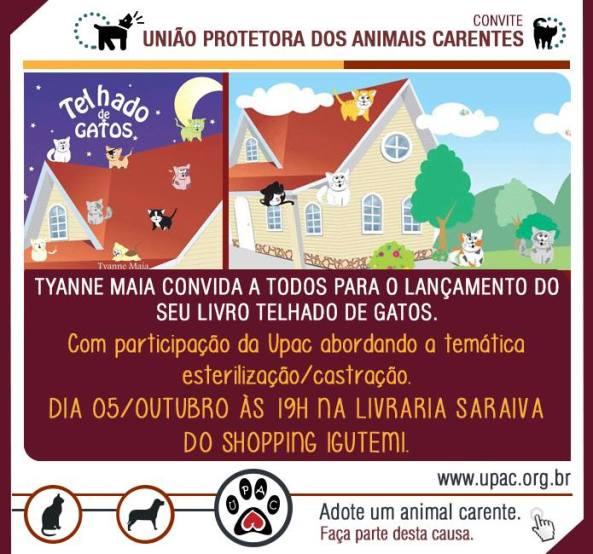 Neste sábado a Tyanne estará lançando o seu livro Telhado de Gatos, às 19h na Livraria Saraiva do Shopping Iguatemi.